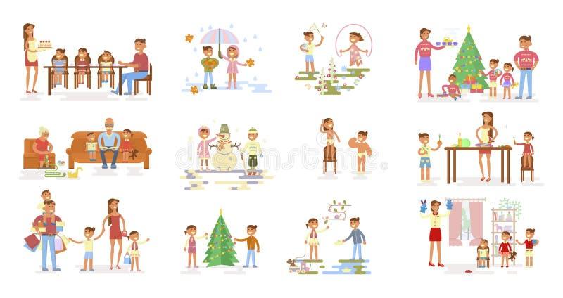 Σύνολο μεγάλου οικογενειακού πορτρέτου ελεύθερη απεικόνιση δικαιώματος
