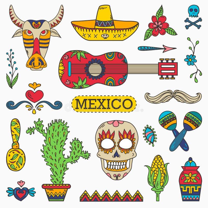 Σύνολο μεξικάνικων παραδοσιακών και πολιτιστικών στοιχείων διανυσματική απεικόνιση