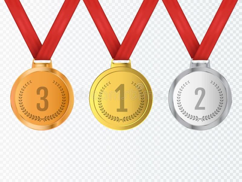 Σύνολο μεταλλίων βραβείων χρυσού, ασημιών και χαλκού διάνυσμα απεικόνιση αποθεμάτων