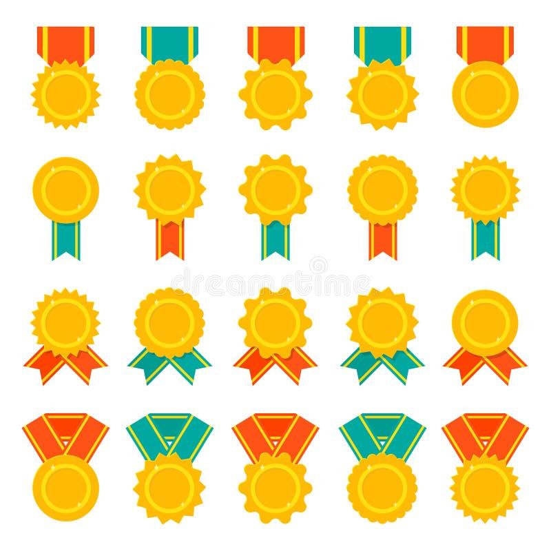 Σύνολο μεταλλίων, διακριτικών ή βραβείων με τις κορδέλλες Επίπεδο σύνολο εικονιδίων χρώματος διανυσματικό διανυσματική απεικόνιση