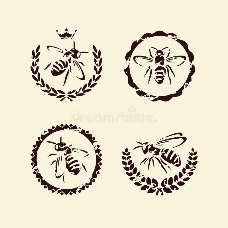 Σύνολο μελισσών. Διάνυσμα διανυσματική απεικόνιση