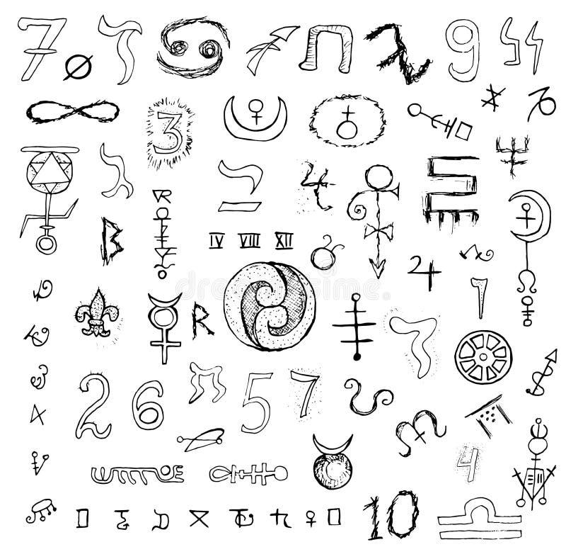 Σύνολο με τα απόκρυφα σύμβολα και τους αριθμούς απεικόνιση αποθεμάτων