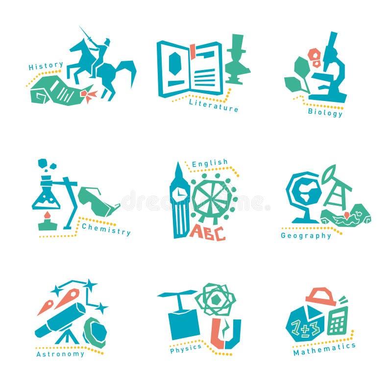 Σύνολο με τα εικονίδια σχολικών θεμάτων για το σχέδιο διάνυσμα διανυσματική απεικόνιση