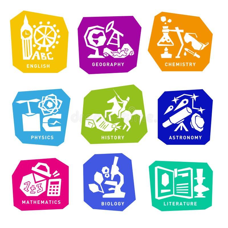 Σύνολο με τα εικονίδια σχολικών θεμάτων για το σχέδιο διάνυσμα ελεύθερη απεικόνιση δικαιώματος