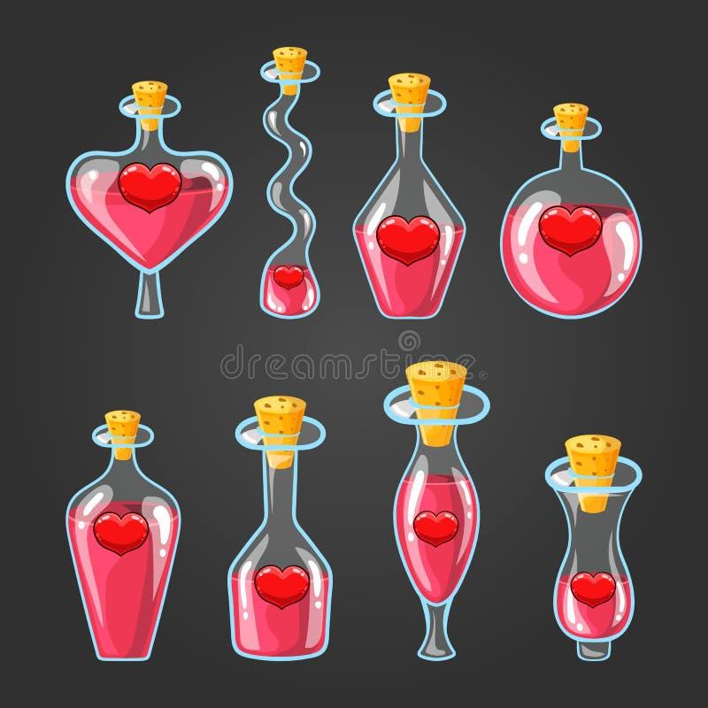 Σύνολο με τα διαφορετικά μπουκάλια της φίλτρου αγάπης απεικόνιση αποθεμάτων