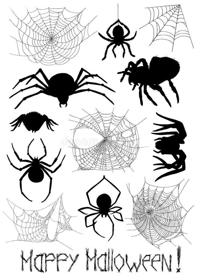 Σύνολο με τις σκιαγραφίες των αραχνών και του ιστού αράχνης ελεύθερη απεικόνιση δικαιώματος