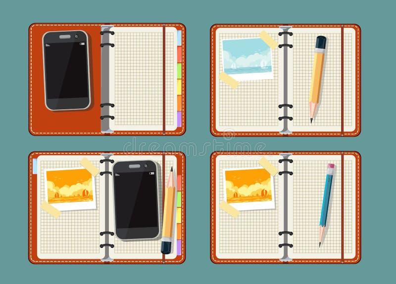 Σύνολο με το σημειωματάριο, το έξυπνο τηλέφωνο, τη φωτογραφία και το ρολόι διανυσματική απεικόνιση