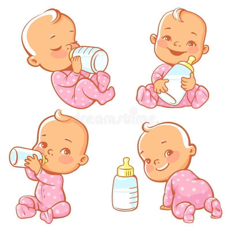 Σύνολο με χαριτωμένο λίγο μωρό με το μπουκάλι του γάλακτος απεικόνιση αποθεμάτων