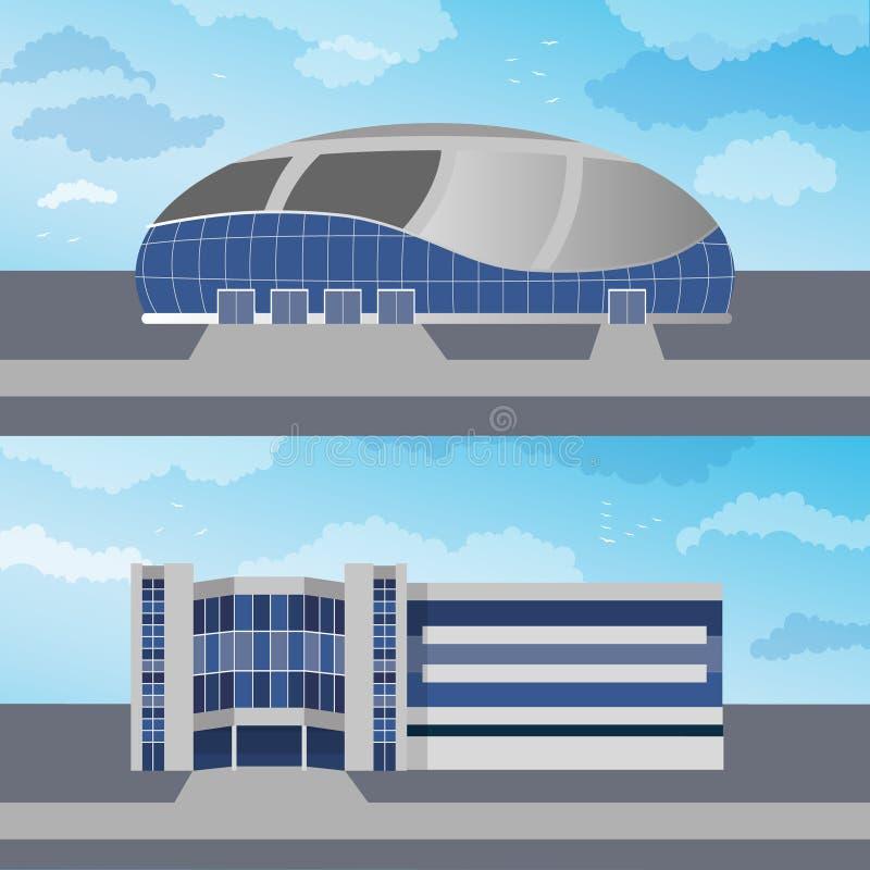 Σύνολο με δύο σύγχρονα κτήρια επίσης corel σύρετε το διάνυσμα απεικόνισης ελεύθερη απεικόνιση δικαιώματος
