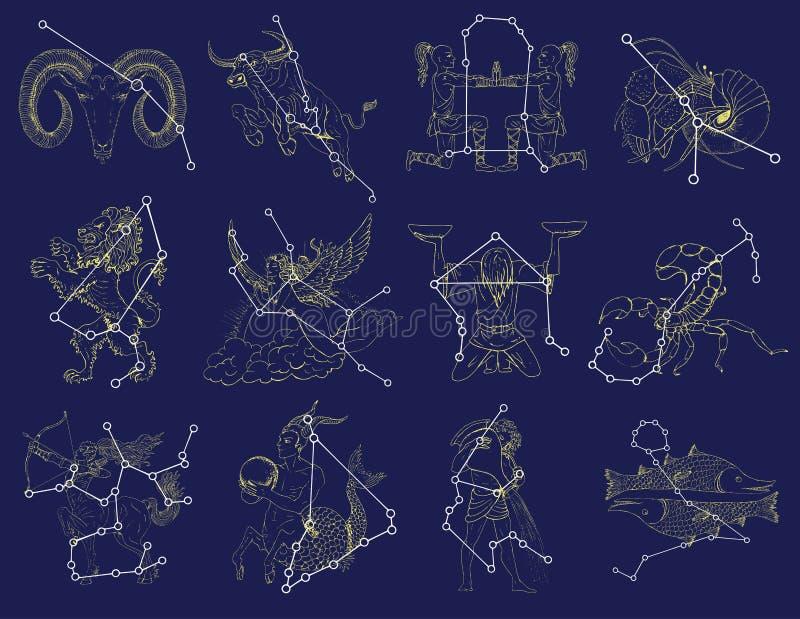 Σύνολο με zodiac τα σημάδια και τους αστερισμούς διανυσματική απεικόνιση