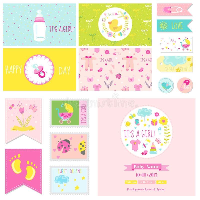 Σύνολο μικρών κοριτσιών ντους μωρών απεικόνιση αποθεμάτων