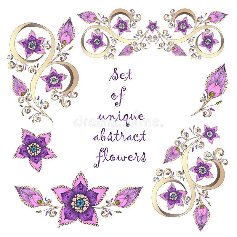 Σύνολο μοναδικών hand-drawn αφηρημένων floral στοιχείων. απεικόνιση αποθεμάτων