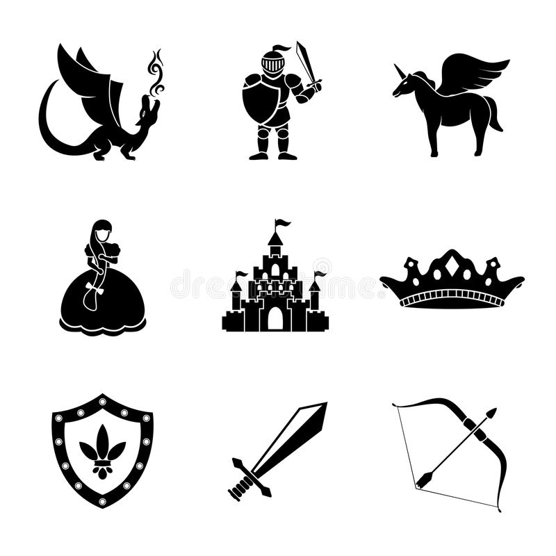 Σύνολο μονοχρωματικού παραμυθιού, εικονίδια παιχνιδιών με - ελεύθερη απεικόνιση δικαιώματος