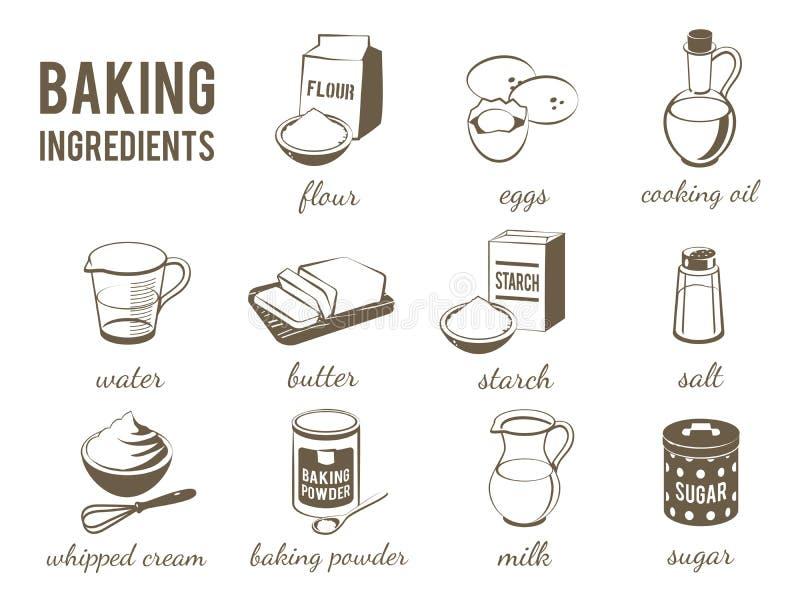Σύνολο μονοχρωματικού, lineart εικονίδια τροφίμων: συστατικά ψησίματος διανυσματική απεικόνιση