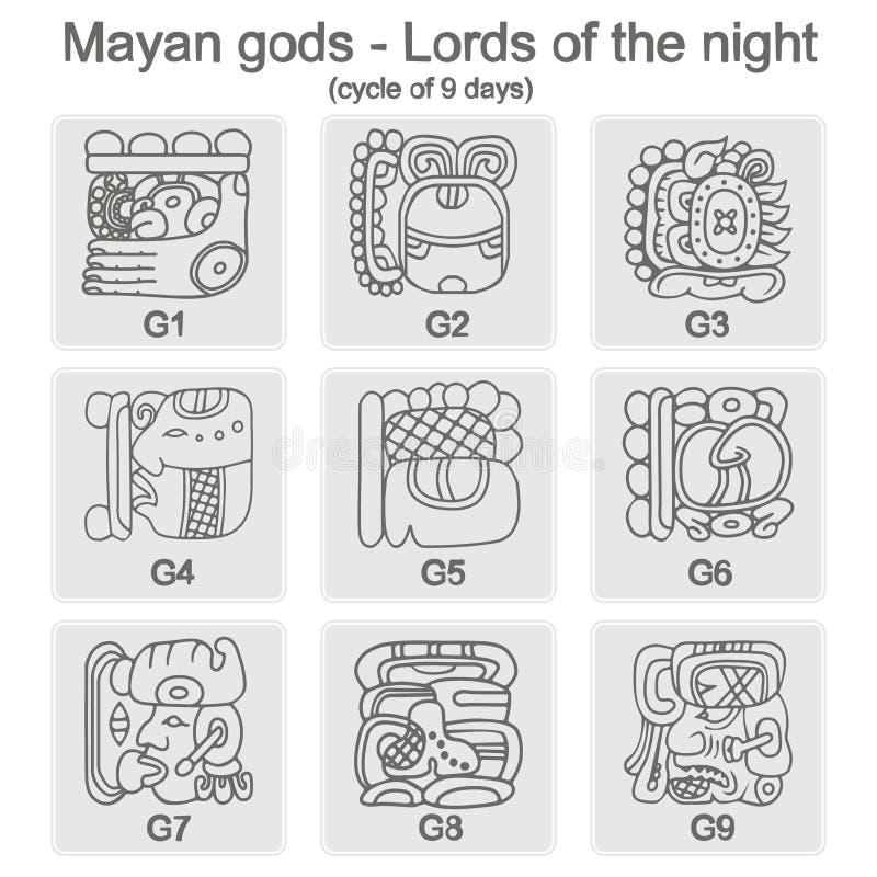 Σύνολο μονοχρωματικών εικονιδίων με τα glyphs του Λόρδου νύχτας της Maya ελεύθερη απεικόνιση δικαιώματος