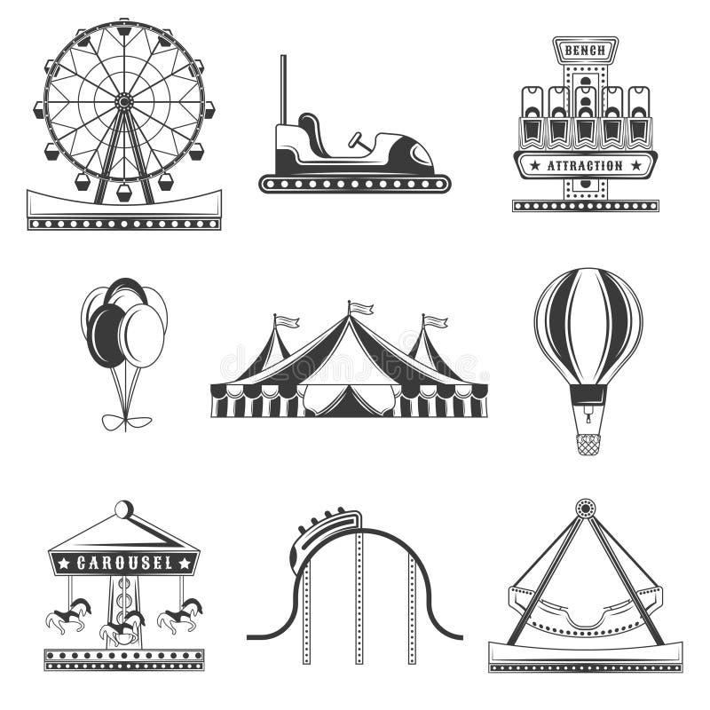 Σύνολο μονοχρωματικών εικονιδίων λούνα παρκ, στοιχεία σχεδίου που απομονώνονται στο άσπρο υπόβαθρο Επίπεδο ύφος απεικόνιση αποθεμάτων