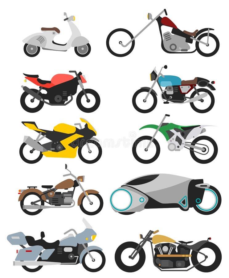 Σύνολο 10 μοτοσικλετών στο λευκό στο σύγχρονο επίπεδο ύφος ελεύθερη απεικόνιση δικαιώματος