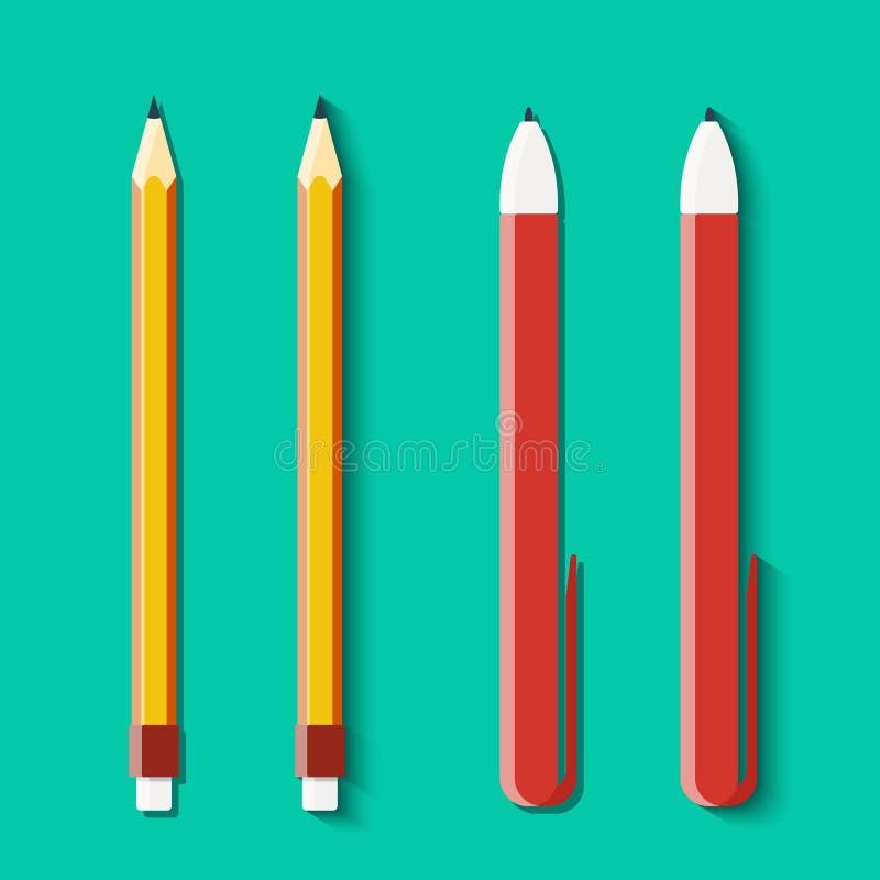 Σύνολο μολυβιών και λαβών στο επίπεδο ύφος ελεύθερη απεικόνιση δικαιώματος