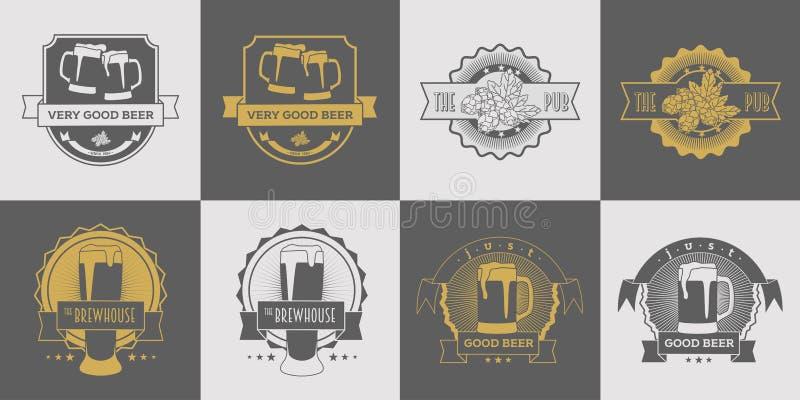 Σύνολο μπαρ, ζυθοποιείου, ετικετών μπύρας τεχνών, brewhouse και μπύρας, λογότυπων, διακριτικού και άλλου σχεδίου Γκρίζο και χρυσό ελεύθερη απεικόνιση δικαιώματος