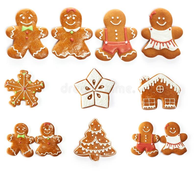 Σύνολο μπισκότων μελοψωμάτων Χριστουγέννων στοκ εικόνες