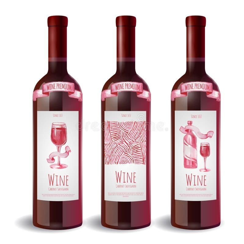 Σύνολο μπουκαλιού κρασιού με την ετικέτα ελεύθερη απεικόνιση δικαιώματος