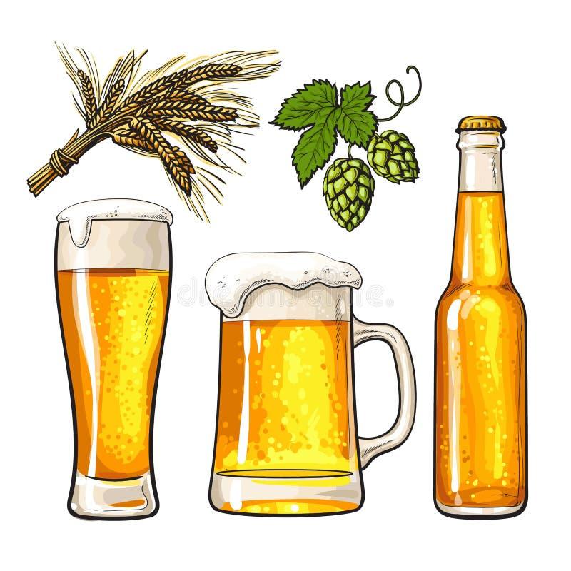 Σύνολο μπουκαλιού μπύρας, κούπας και γυαλιού, βύνη, λυκίσκος διανυσματική απεικόνιση