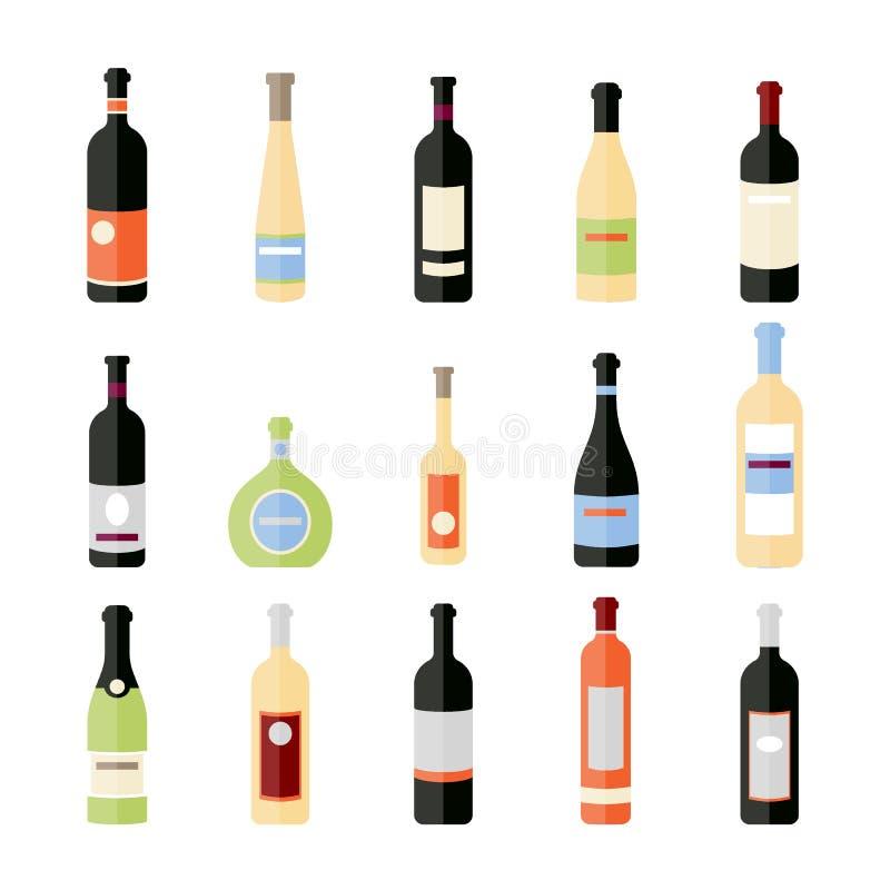 Σύνολο μπουκαλιών κρασιού στο επίπεδο επίπεδα μπουκάλια κρασιού Διαφορετικά είδη μπουκαλιών κρασιού απεικόνιση αποθεμάτων
