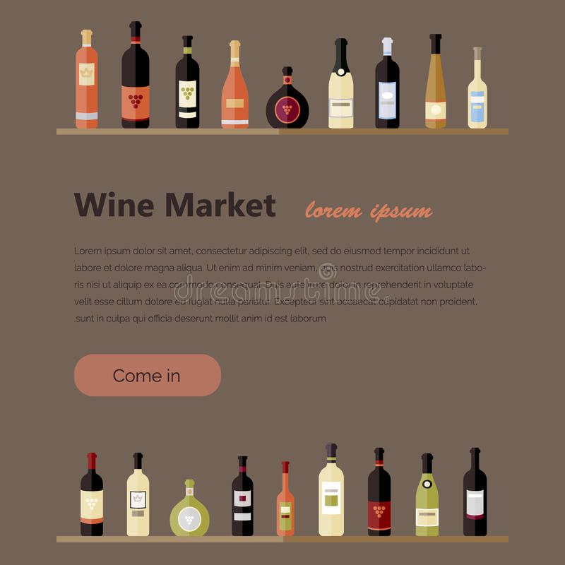 Σύνολο μπουκαλιών κρασιού στο επίπεδο επίπεδα μπουκάλια κρασιού ελεύθερη απεικόνιση δικαιώματος