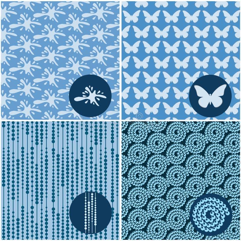 Σύνολο μπλε άνευ ραφής σχεδίων διανυσματική απεικόνιση