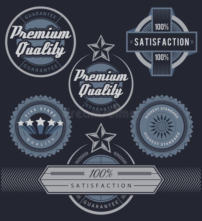 Σύνολο μπλε ετικετών και διακριτικών προώθησης απεικόνιση αποθεμάτων