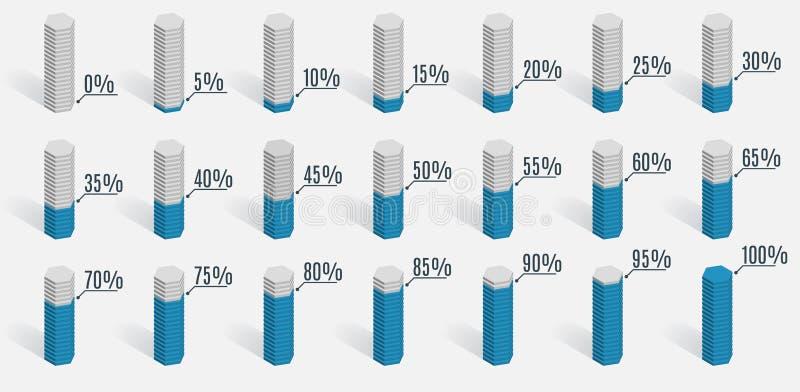 Σύνολο μπλε διαγραμμάτων ποσοστού για το infographics, απεικόνιση αποθεμάτων
