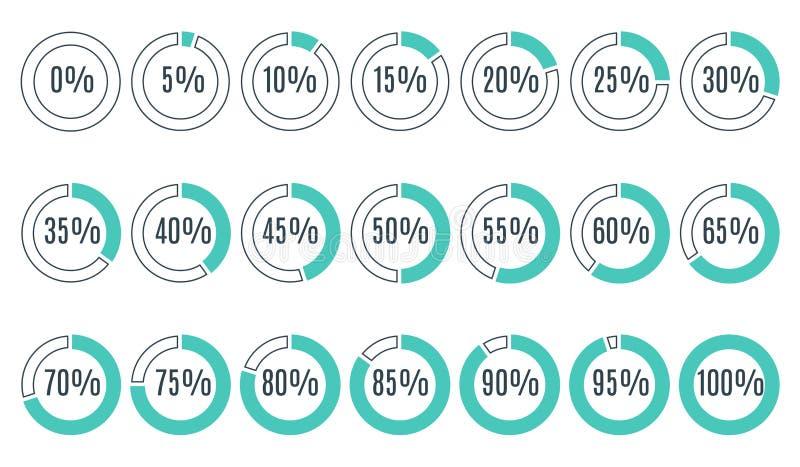 Σύνολο μπλε διαγραμμάτων ποσοστού κύκλων για το infographics ελεύθερη απεικόνιση δικαιώματος