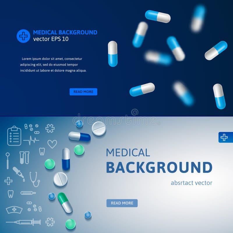 Σύνολο μπλε ιατρικών εμβλημάτων ελεύθερη απεικόνιση δικαιώματος