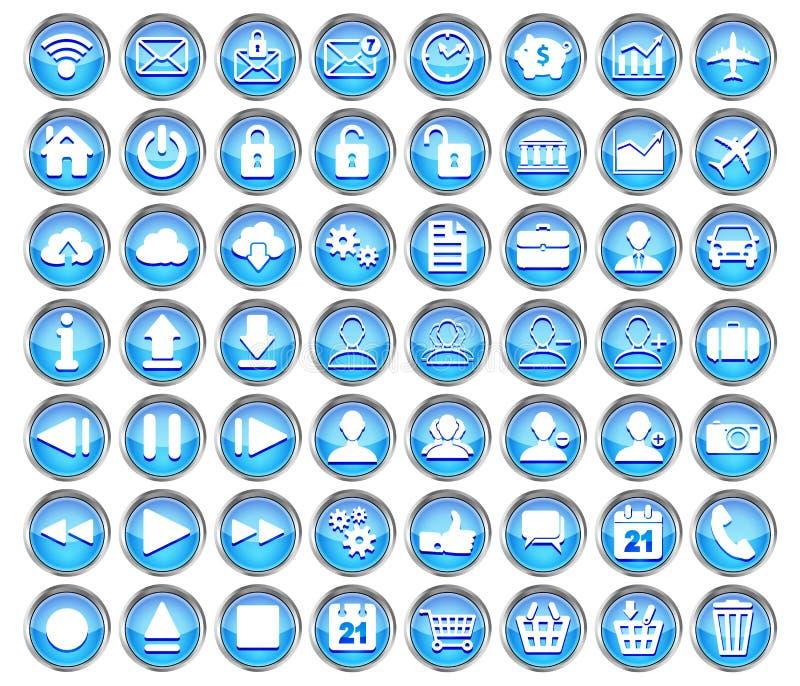 Σύνολο μπλε Ιστού, πολυμέσων και επιχειρησιακών εικονιδίων διανυσματική απεικόνιση