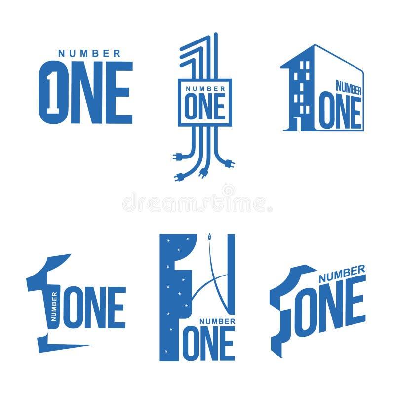 Σύνολο μπλε και άσπρου αριθμού ένα πρότυπα λογότυπων ελεύθερη απεικόνιση δικαιώματος