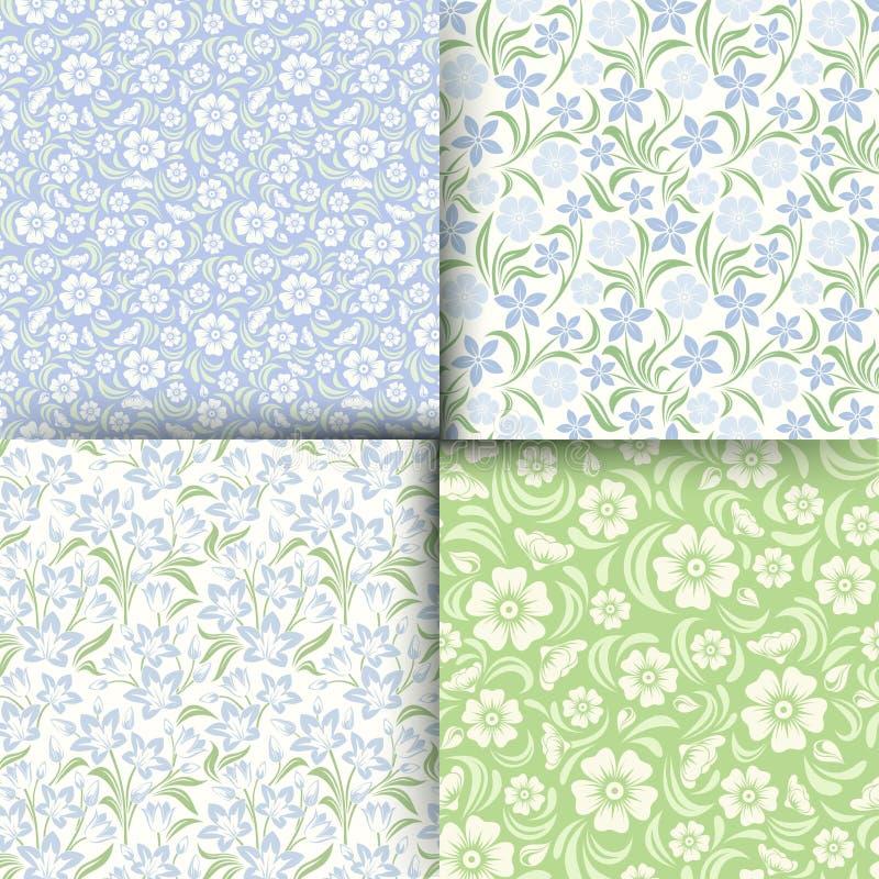 Σύνολο μπλε και πράσινων άνευ ραφής floral σχεδίων επίσης corel σύρετε το διάνυσμα απεικόνισης διανυσματική απεικόνιση