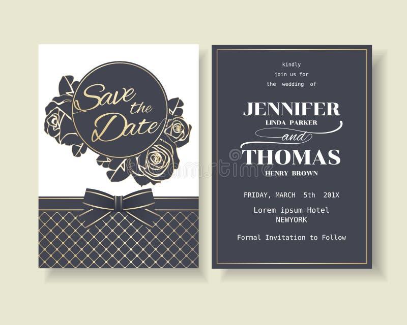 Σύνολο μπλε ναυτικής κάρτας γαμήλιας πρόσκλησης πολυτέλειας με τη διακόσμηση τριαντάφυλλων διανυσματική απεικόνιση