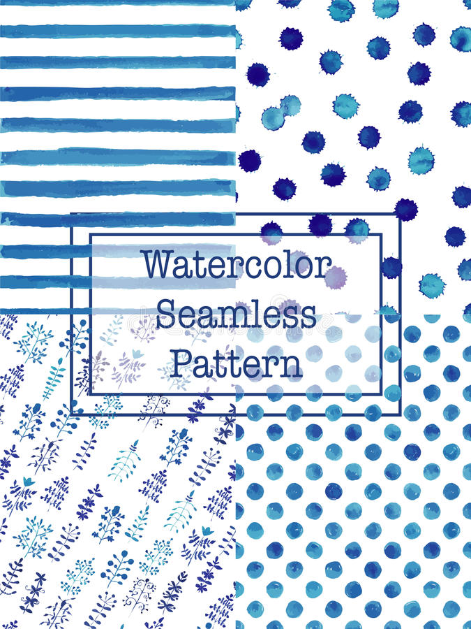 Σύνολο μπλε χρώματος σχεδίων watercolor άνευ ραφής απεικόνιση αποθεμάτων
