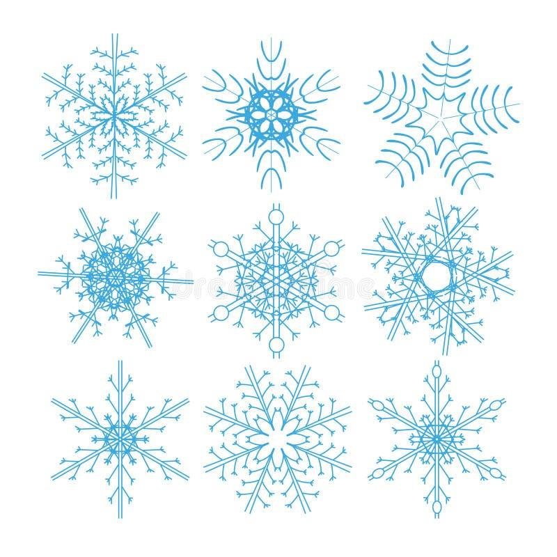 Σύνολο μπλε snowflakes σε ένα άσπρο υπόβαθρο Ένα σύνολο απλά ποικίλα γεωμετρικά snowflakes απεικόνιση αποθεμάτων