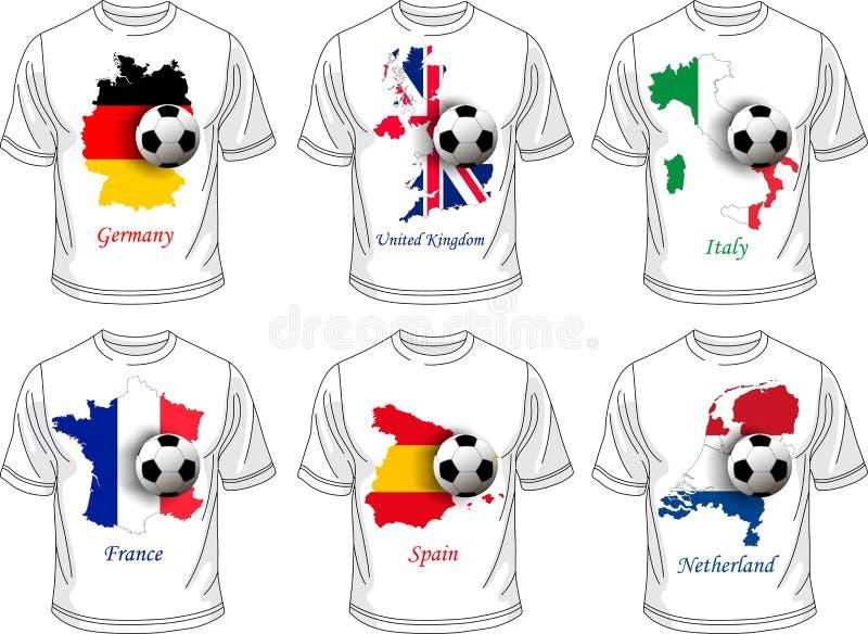 Σύνολο μπλουζών ποδοσφαίρου (ποδόσφαιρο) απεικόνιση αποθεμάτων