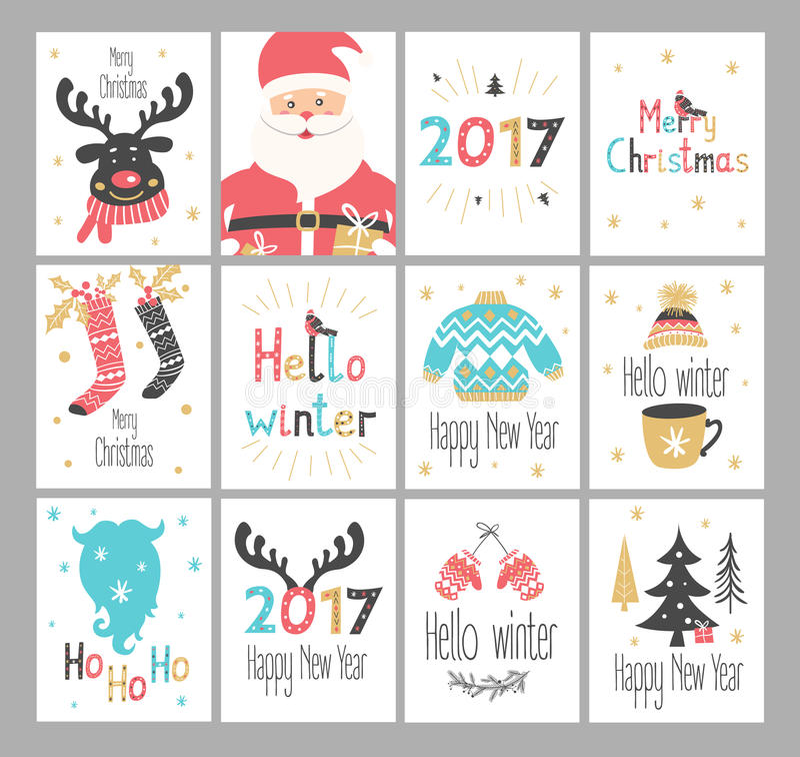 Σύνολο νέων καρτών χαιρετισμών έτους και Χριστουγέννων διανυσματική απεικόνιση
