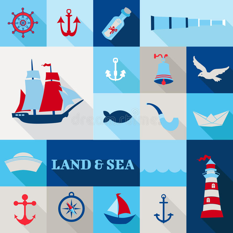 Σύνολο ναυτικών εκλεκτής ποιότητας στοιχείων διανυσματική απεικόνιση