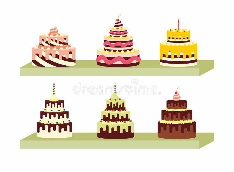 Σύνολο νόστιμων κέικ στο ράφι για τα γενέθλια, τους γάμους, τις επετείους και άλλους εορτασμούς ελεύθερη απεικόνιση δικαιώματος