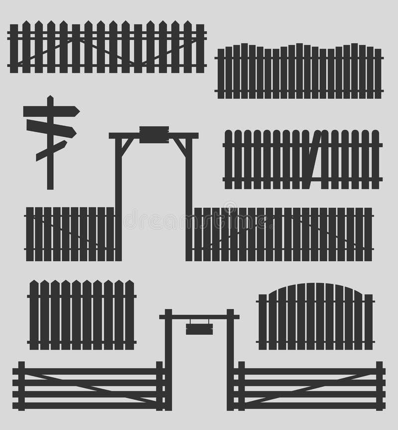 Σύνολο ξύλινων φρακτών με τις πύλες διανυσματική απεικόνιση