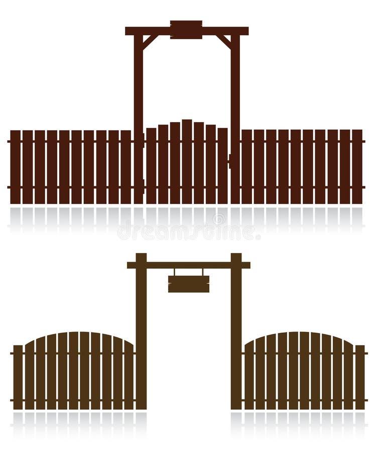 Σύνολο ξύλινων φρακτών στο λευκό διανυσματική απεικόνιση