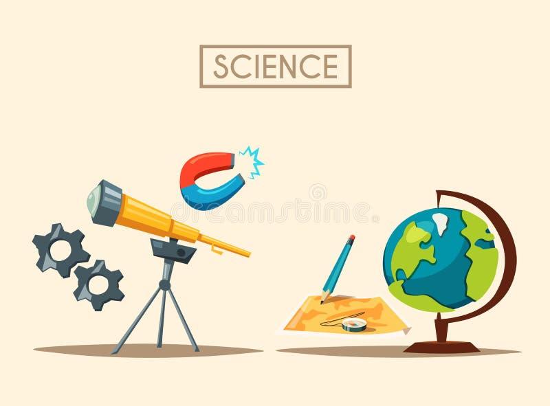 Σύνολο λογότυπου επιστήμης η αλλοδαπή γάτα κινούμενων σχεδίων δραπετεύει το διάνυσμα στεγών απεικόνισης Θέμα εκπαίδευσης διανυσματική απεικόνιση