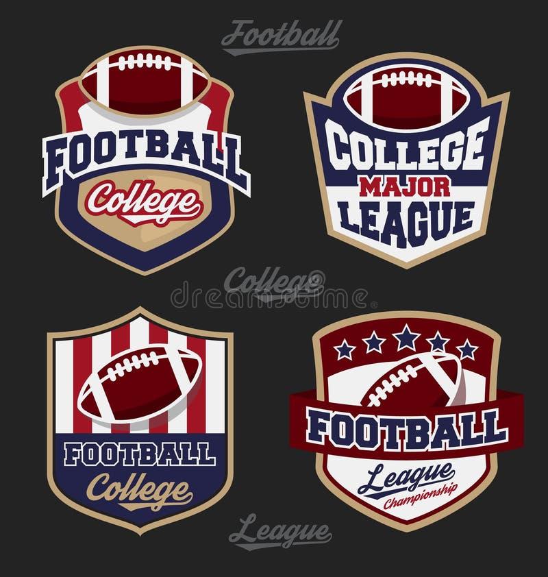 Σύνολο λογότυπου διακριτικών ένωσης κολλεγίων ποδοσφαίρου διανυσματική απεικόνιση