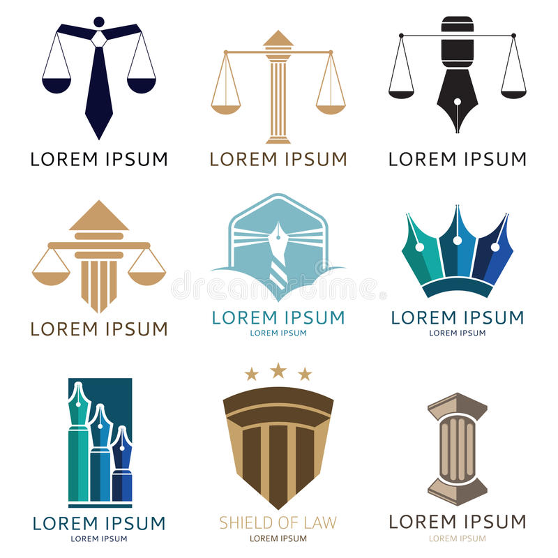 Σύνολο λογότυπου δικηγόρων και λογότυπου γραφείων δικηγόρων απεικόνιση αποθεμάτων