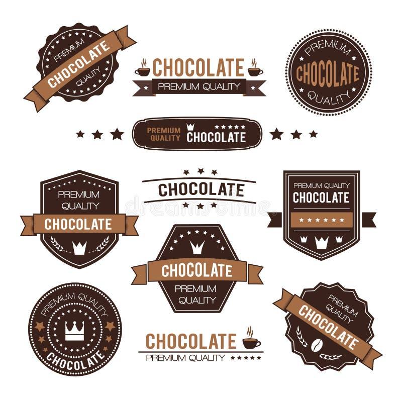 Σύνολο λογότυπου και εικονιδίων σχεδίου σοκολάτας ελεύθερη απεικόνιση δικαιώματος