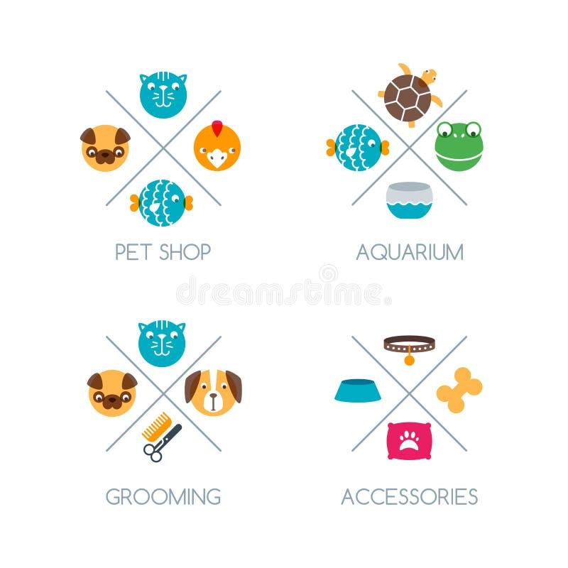 Σύνολο λογότυπου καταστημάτων κατοικίδιων ζώων, στοιχεία σχεδίου εμβλημάτων ή ετικετών Διανυσματικά εικονίδια χρώματος διανυσματική απεικόνιση